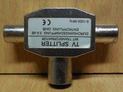 TV Zweifachverteiler 2 fach Verteiler metall Koax-Kupplung 2x Koax-Stecker*so729