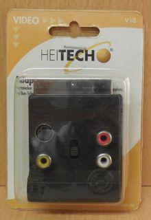 Heitech V10 Scart Adapter 3x Cinch Scart Stecker Kupplung Ein Aus Schalter*so748