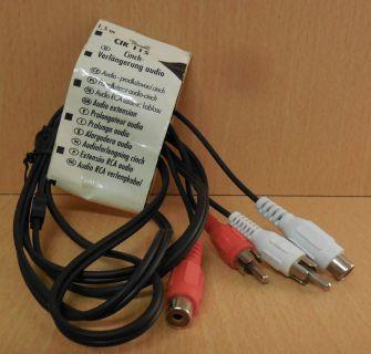 Schwaiger CIK115 Audio Cinch Verlängerung 1,5m Stereo 2xStecker 2xKupplung*so750