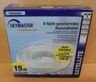 Skymaster SAT Koaxialkabel 15m 110db 4xshielded Antennenkabel zum Verlegen*so760