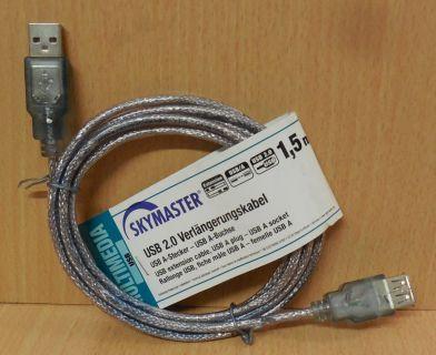 Skymaster 81161 USB2.0 Kabel Silber 1,5m Typ A Stecker Buchse Verlängerung*so771