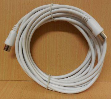 TV Radio SAT Antennenkabel Koax Stecker Koax Kupplung 5m weiß* so782