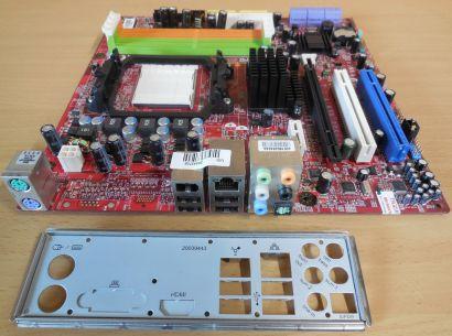 MSI MS-7501 Ver 6.1 K9NGM3 Mainboard +Blende Sockel AM2 AM2+ PCIe 16x GLAN* m791