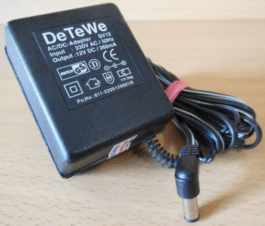 DeTeWe SV12 AC DC Adapter 12V 260mA Netzteil 811-220S120001 6* nt876