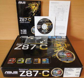 Asus Z87-C Rev 1.02 Mainboard in OVP Intel Z87 Sockel 1150 PCIe DDR3 USB3.0*m828