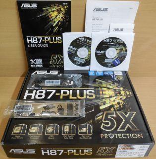Asus H87-Plus Rev1.04 Mainboard in OVP Intel H87 Sockel 1150 PCIe DDR3 USB3*m831