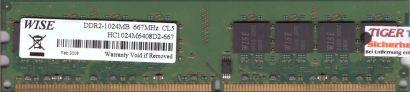 Wise HC1024M6408D2-667 PC2-5300 1GB DDR2 667MHz Arbeitsspeicher RAM* r462