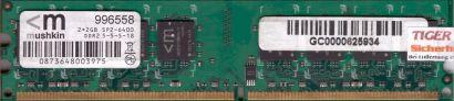Mushkin 996558 PC2-6400 2GB DDR2 800MHz 5-5-5-18 Arbeitsspeicher RAM* r474