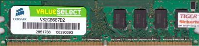 Corsair ValueSelect VS2GB667D2 PC2-5300 2GB DDR2 667MHz Arbeitsspeicher RAM*r480