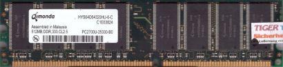 Qimonda HYS64D64320HU-6-C PC-2700 512MB DDR1 333MHz Arbeitsspeicher DDR RAM*r509