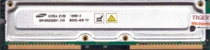 Samsung MR16R0828BN1-CK8 800-45 PC800 128MB 8 RDRAM 800MHz Rambus RIMM* r520