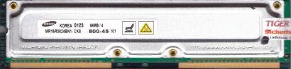 Samsung MR16R0824BN1-CK8 800-45 PC800 64MB 4 RDRAM 800MHz Rambus RIMM* r521
