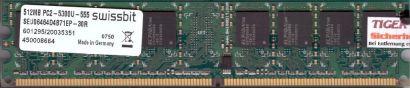 Swissbit SEU06464D4B71EP-30R PC2-5300 512MB DDR2 667MHz Arbeitsspeicher RAM*r529
