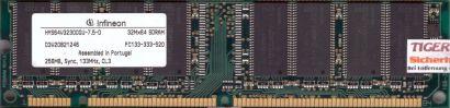 Infineon HYS64V32300GU-7.5-D PC133 256MB SDRAM 133MHz Arbeitsspeicher RAM* r535