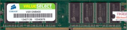 Corsair ValueSelect VS512MB400 PC-3200 512MB DDR 400MHz Arbeitsspeicher RAM*r544