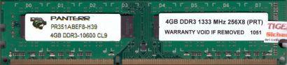 Panterr PR351ABEF8-H39 PC3-10600 4GB DDR3 1333MHz CL9 Arbeitsspeicher RAM* r552