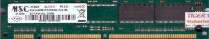 MSC 864V32CD3DT4SDGX-75AIEL PC133 256MB SDRAM 133MHz Arbeitsspeicher SD RAM*r555