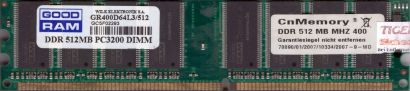 GOOD RAM GR400D64L3 512 PC-3200 512MB DDR1 400MHz Arbeitsspeicher RAM* r563