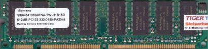 Siemens SIE6464133G07NA-TW-H1B16D PC133 512MB SDRAM 133MHz CL3 SD RAM* r567