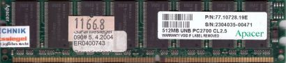 Apacer 77.10728.19E PC-2700 512MB DDR1 333MHz CL2.5 Arbeitsspeicher RAM* r577