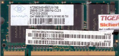 Nanya NT256D64SH8B0GM-75B PC-2100 256MB DDR1 266MHz SODIMM Arbeitsspeicher* lr04