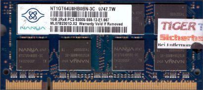 Nanya NT1GT64U8HB0BN-3C PC2-5300 1GB DDR2 667MHz SODIMM Arbeitsspeicher* lr07