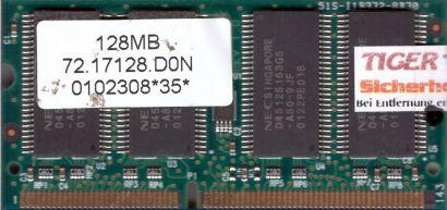 NEC 72.17128.D0N PC133 128MB SDRAM 133MHz SODIMM SD RAM Arbeitsspeicher* lr10