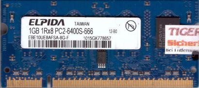 Elpida EBE10UE8AFSA-8G-F PC2-6400 1GB DDR2 800MHz SODIMM Arbeitsspeicher* lr11