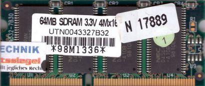 NEC UTN0043327B32 PC100 64MB SDRAM 100MHz SODIMM SD RAM Arbeitsspeicher* lr15