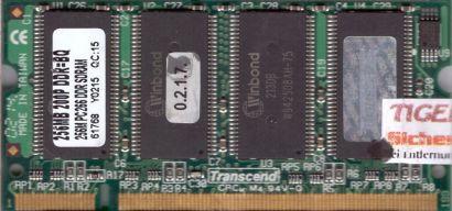 Transcend PC-2100 256MB DDR1 266MHz SODIMM DDR266 Arbeitsspeicher* lr16