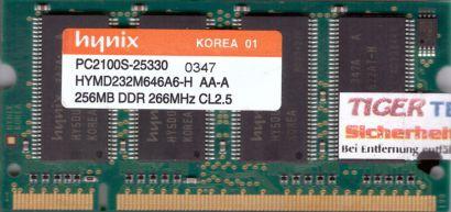 Hynix HYMD232M646A6-H AA-A PC-2100 256MB DDR1 266MHz SODIMM Arbeitsspeicher*lr18
