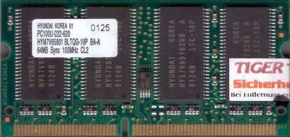 Hyundai HYM7V65801 BLTQG-10P BA-A PC100 64MB SDRAM 100MHz SODIMM SD RAM* lr21