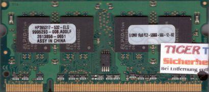 Elpida HP395317-532-ELG PC2-5300 512MB DDR2 667MHz SODIMM 9995293-008 A00LF*lr22