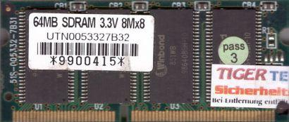 Winbond UTN0053327B32 PC100 64MB SDRAM 100MHz SODIMM SD RAM Arbeitsspeicher*lr23