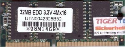 Mosel Vitelic UTN0042325B32 32MB SODIMM EDO 3.3V RAM Arbeitsspeicher* lr27