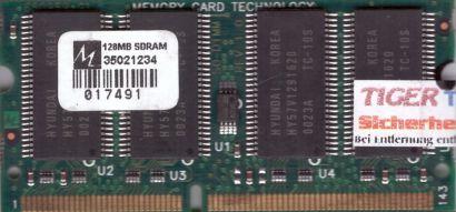 NoName PC100 128MB SDRAM 100MHz SODIMM SD RAM Hyundai HY57V1291620 Chips* lr29