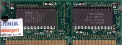 NEC MC-45 4CB 64S-A10B PC66 32MB SDRAM 66MHz SODIMM SD RAM Arbeitsspeicher* lr35