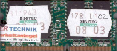 Transcend PC100 128MB 144P SDRAM 100MHz SODIMM SD RAM Arbeitsspeicher* lr36