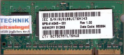Qimonda HYS64T64020HDL-3S-B PC2-5300 512MB DDR2 667MHz SODIMM RAM* lr40