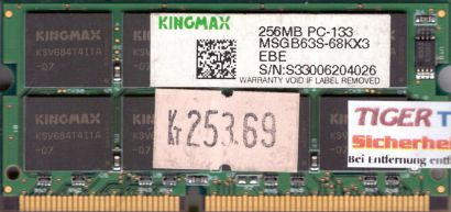 Kingmax MSGB63S-68KX3 PC133 256MB SDRAM 133MHz SODIMM SD Arbeitsspeicher* lr41