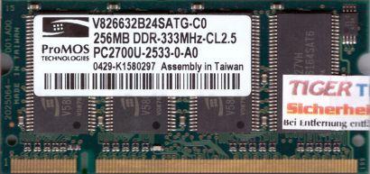 Promos V826632B24SATG-C0 PC-2700 256MB DDR1 333MHz SODIMM Arbeitsspeicher* lr42