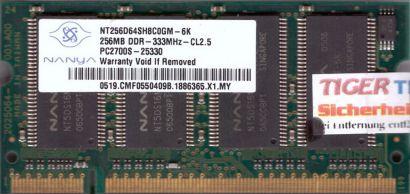 Nanya NT256D64SH8C0GM-6K PC-2700 256MB DDR1 333MHz SODIMM Arbeitsspeicher* lr48