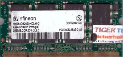 Infineon HYS64D32020HDL-6-C PC-2700 256MB DDR1 333MHz SODIMM RAM* lr52
