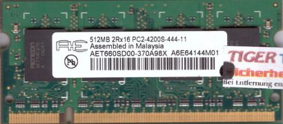 Aeneon AET660SD00-370A98X PC2-4200 512MB DDR2 533MHz SODIMM Arbeitsspeicher*lr56