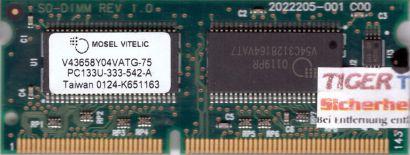 Mosel Vitelic V43658Y04VATG-75 PC133 64MB SDRAM 133MHz SODIMM SD RAM* lr57