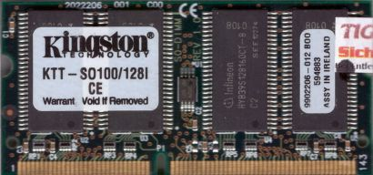 Kingston KTT-SO100 128I PC100 128MB SDRAM 100MHz SODIMM 9902206-012 B00* lr58