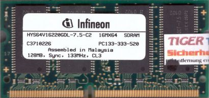 Infineon HYS64V16220GDL-7.5-C2 PC133 128MB SDRAM 133MHz SODIMM SD RAM* lr63