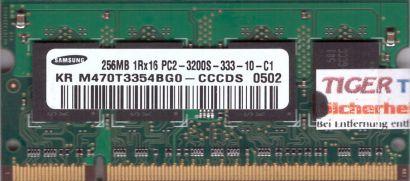 Samsung M470T3354BG0-CCCDS PC2-3200 256MB DDR2 400MHz SODIMM RAM* lr67