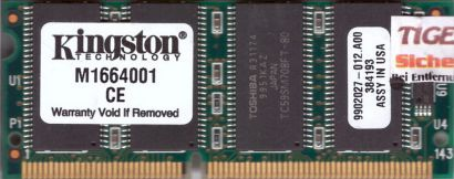 Kingston M1664001 PC66 128MB SDRAM 66MHz SODIMM 9902027-012 A00* lr69