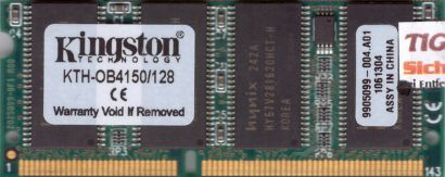 Kingston KTH-OB4150 128 PC100 128MB SDRAM 100MHz SODIMM 9905099-004 A01* lr71